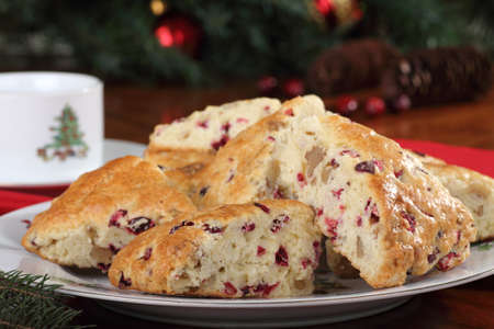 Cranberry nut scones on a plate with Christmas decorations Stock Photo - 16240851