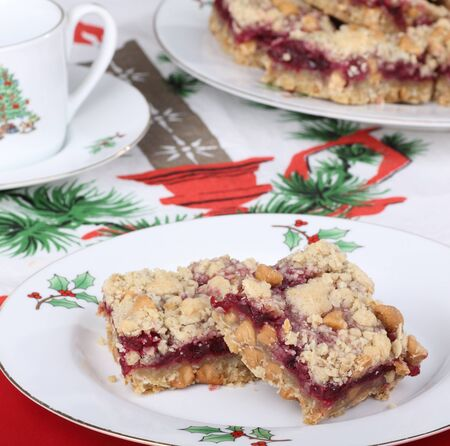 Two cranberry bars on a Christmas plate Stock Photo - 16240859