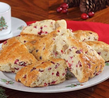 Cranberry and nut scones on a Christmas plate Stock Photo - 16240854