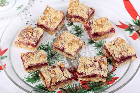 Platter of cranberry and peanut butter bars Stock Photo - 16240862