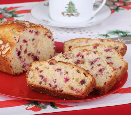 Slices of cranberry sweet bread on a red platter Stock Photo - 16331949