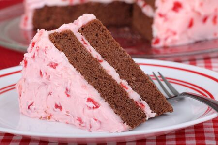 Piece of chocolate cake with cherry frosting on a plate Stock Photo - 16331948