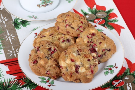 Platter of cranberry cookies on a Christmas tablecloth Stock Photo - 16426686