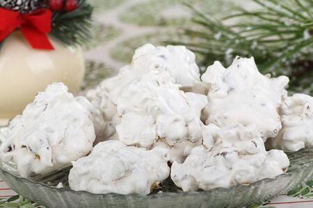 White cookies on a plate with Christmas decorations Stock Photo - 16426681