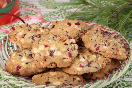 Plate of Christmas cranberry and nut cookies Stock Photo - 16426685