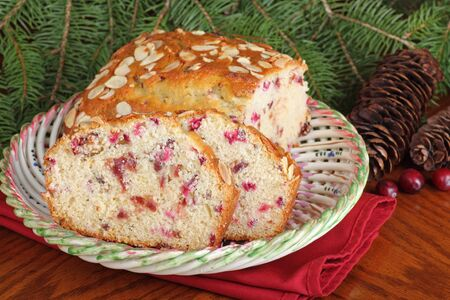 Sliced cranberry almond Christmas bread on a plate Stock Photo - 16426691
