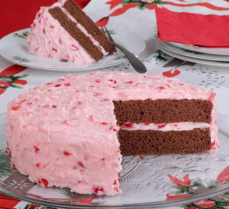 Chocolate layer cake with cherry icing on a Christmas platter Stock Photo - 16426689