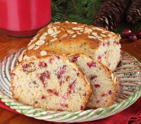 Sliced cranberry and nut bread on a plate Stock Photo - 16426694
