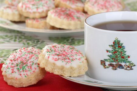 Two shortbread Christmas cookies and cup of coffee Stock Photo - 16426692