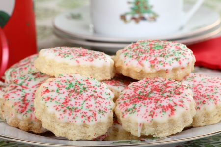 Closeup of a plate of shortbread Christmas cookies Stock Photo - 16426693