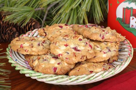 Plate of cranberry and nut Christmas cookies Stock Photo - 16426695