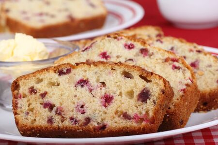Closeup of a plate of sliced cranberry bread Stock Photo - 16478897