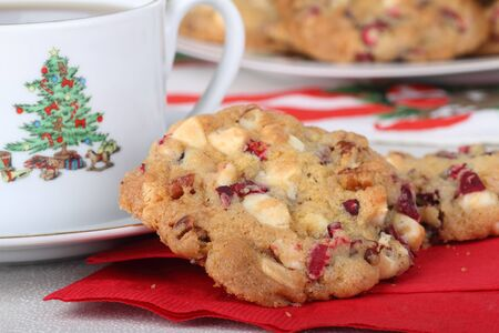 Closeup of cranberry cookies and cup of coffee Stock Photo - 16522179