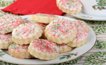 Plate of shortbread cookies withicing and sprinkles Stock Photo - 16576033
