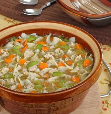 Chicken noodle and vegetable soup in a pot Stock Photo - 16576076