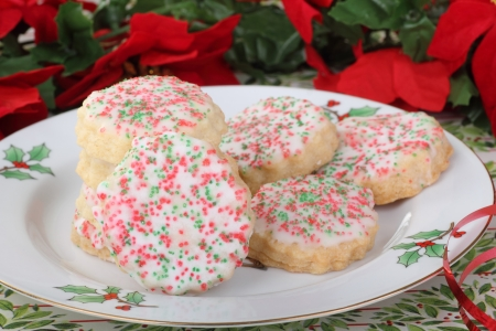 Christmas shortbread sugar cookies on a plate Stock Photo - 16614629