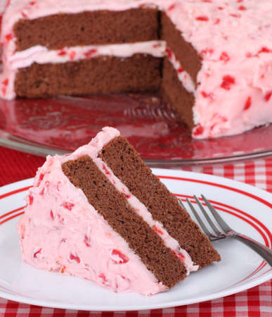 Piece of chocolate layer cake with cherry frosting on a plate Stock Photo - 16614626
