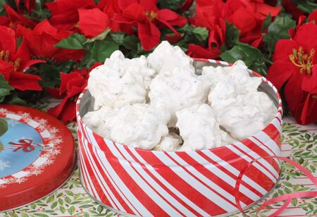 Cookies in a red and white Christmas tin Stock Photo - 16614630