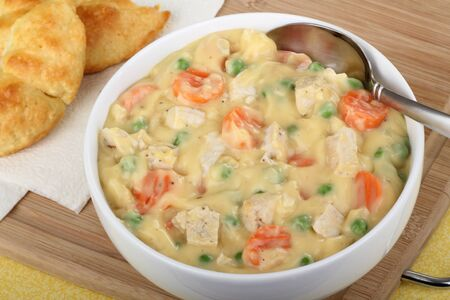 Creamy chicken soup with peas and carrots Stock Photo - 16614628