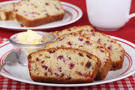 Sliced cranberry sweet bread on a plate Stock Photo - 16657072