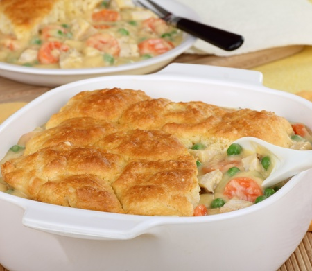Chicken pot pie in a white casserole dish Stock Photo - 16657103