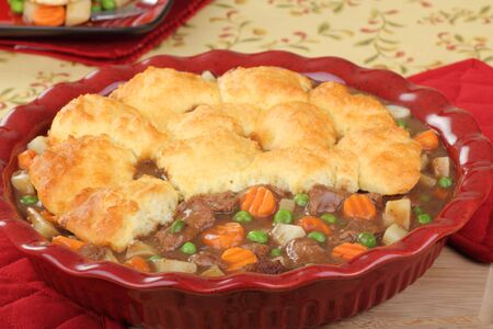 Beef pot pie with carrots, potatoes; and peas Stock Photo - 16687926