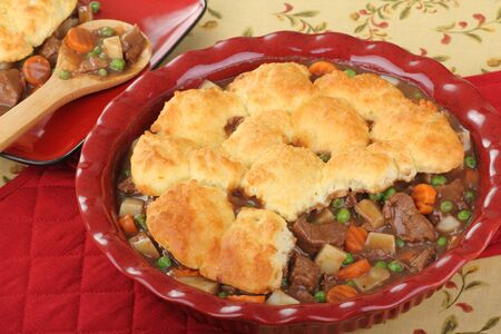 Beef and vegetable pot pie with biscuits Stock Photo - 16728389