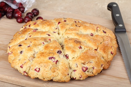 Whole cranberry scone on a cutting board Stock Photo