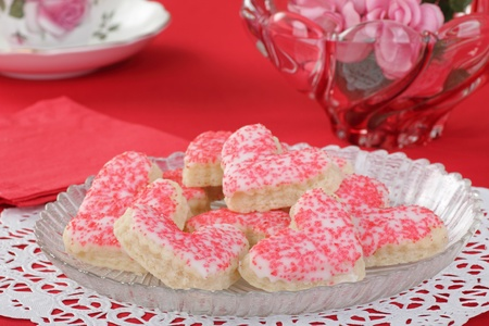 Valentine heart shaped sugar cookies on a plate Stock Photo - 16783069