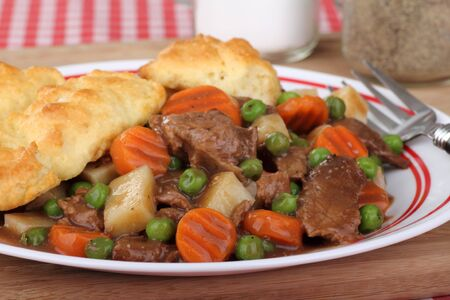 Closeup of a plate of beef stew and biscuits Stock Photo - 16783068