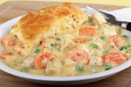 Chicken pot pie with carrots and peas Stock Photo - 16783072