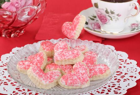 Valentine heart shaped sugar cookies with icing on a plate Stock Photo - 16783073