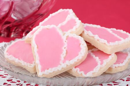 Heart shaped valentine cookies on a plate Stock Photo - 16783070