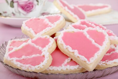 Plate of heart shaped sugar cookies on a plate Stock Photo - 16852660