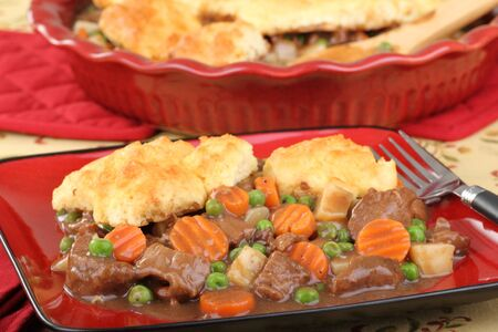 Beef stew with bicuits, peas, carrots, and potatoes Stock Photo - 16852672