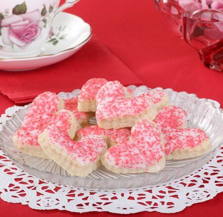 Heart shaped valentine day cookies with icing and sprinkles Stock Photo - 16886232