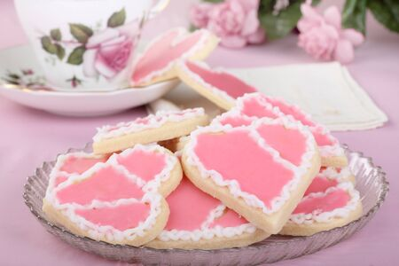 Plate of valentine day heart shaped cookies photo