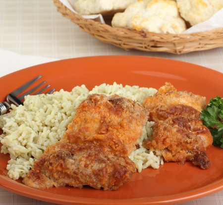 Baked chicken thighs and rice on a dinner plate Stock Photo - 16911041