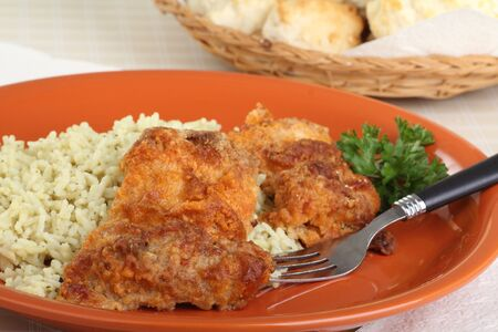 Baked chicken thighs on a dinner plate Stock Photo - 16936358
