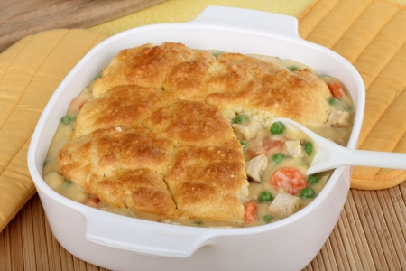 Chicken pot pie with carrota and peas