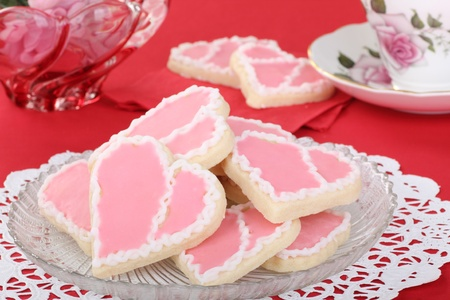 Valentine heart shaped cookies with pink and white icing Stock Photo - 17038204