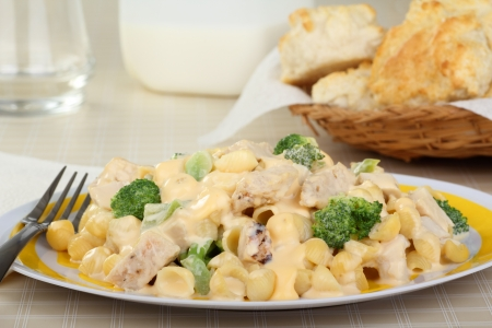 Chicken, macaroni and broccoli with melted cheese Stock Photo - 17038206