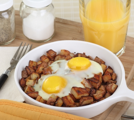 Two fried eggs and potatoes breakfast with orange juice Stock Photo - 17038208