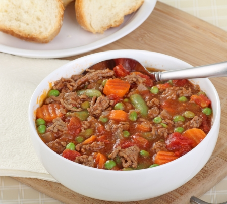 Beef and vegetable soup in a white bowl Stock Photo - 17120287