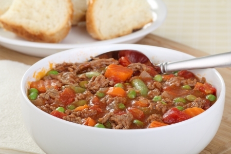 meat soup: Bowl of vegetable soup with ground beef Stock Photo