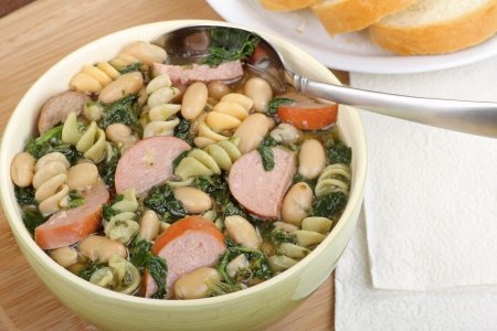 Sausage, spinach and bean soup in a bowl Stock Photo - 17222533