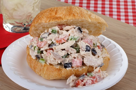 Tuna salad sandwich on a croissant bun Stock Photo - 17374634