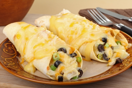 Two chicken enchiladas with melted cheese on a plate photo
