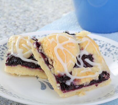 Two blueberry dessert bars on a plate Stock Photo - 17438665
