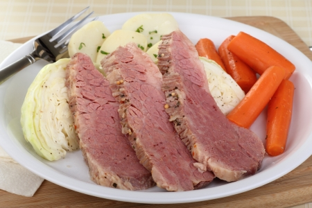 Sliced corned beef and cabbage with carrots and potatoes on a plate Stock Photo - 17477040